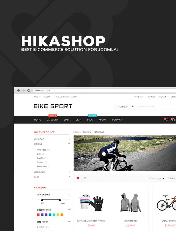 Bike Sport - Hikashop Joomla Template