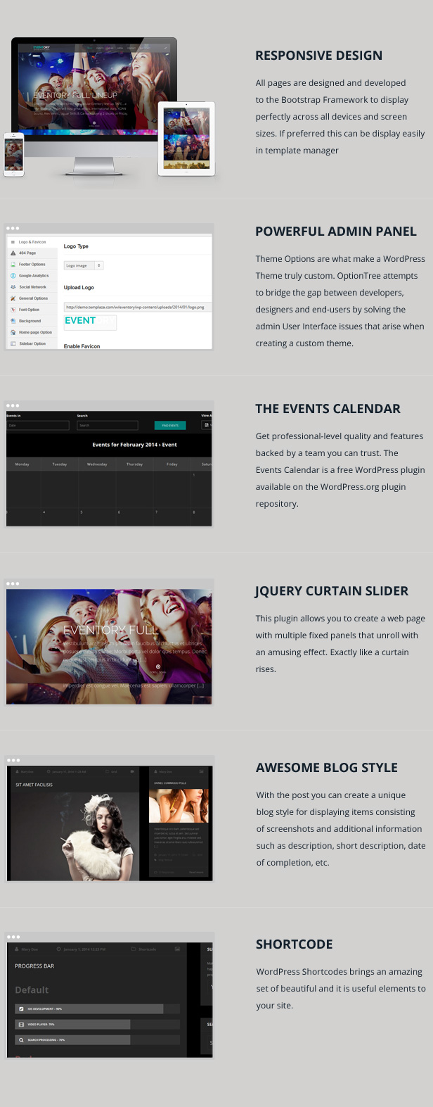 WordPress theme Eventory - Events Responsive WordPress Theme (Events)