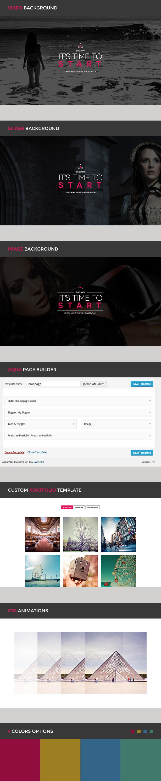 WordPress theme Start - One Page Responsive WordPress Theme (Creative)