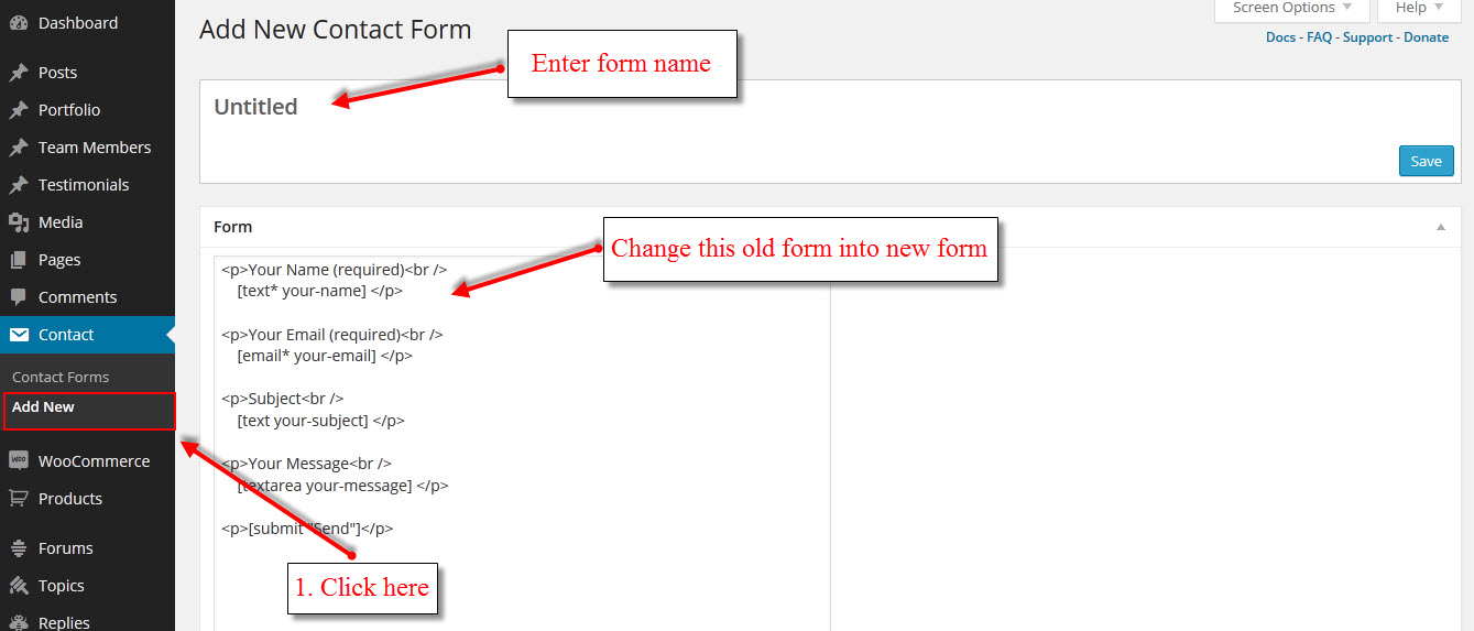 theme renovate how to change contact form