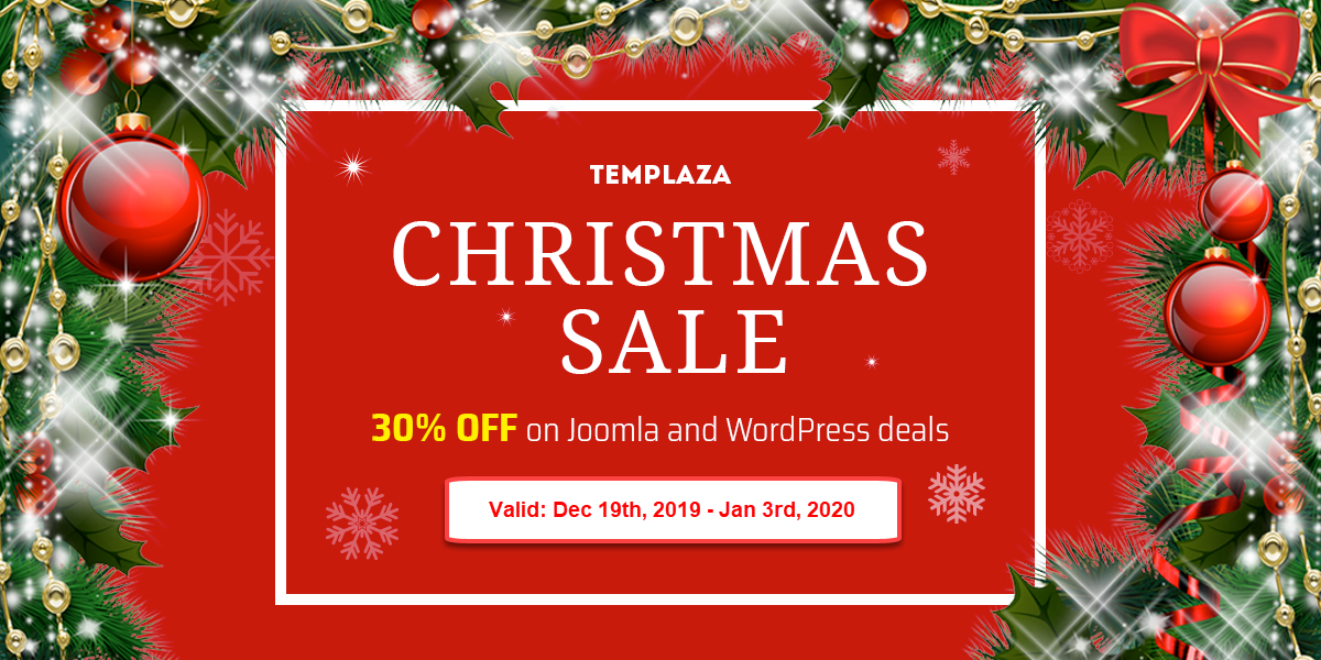 Christmas Deals 2020 Early XMas Sale] 30% OFF on Joomla and WordPress Deals   TemPlaza