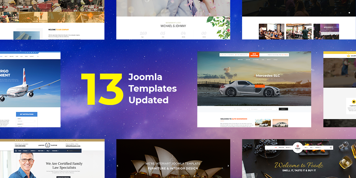 Check out the massive updates of 13 Joomla templates
