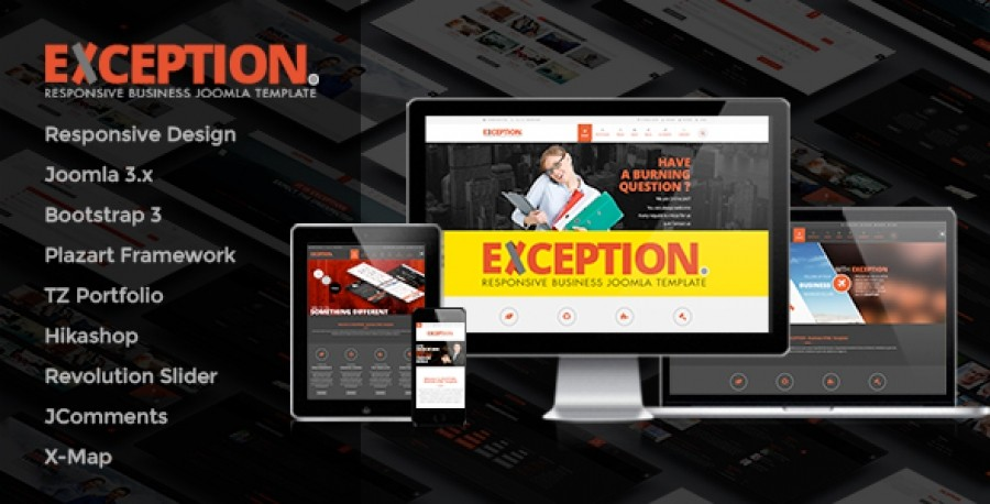 Exception - Responsive Joomla Template in Preview