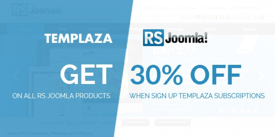 Get Discounting 30% Off On All RS Joomla Products When Sign Up TemPlaza Subscriptions