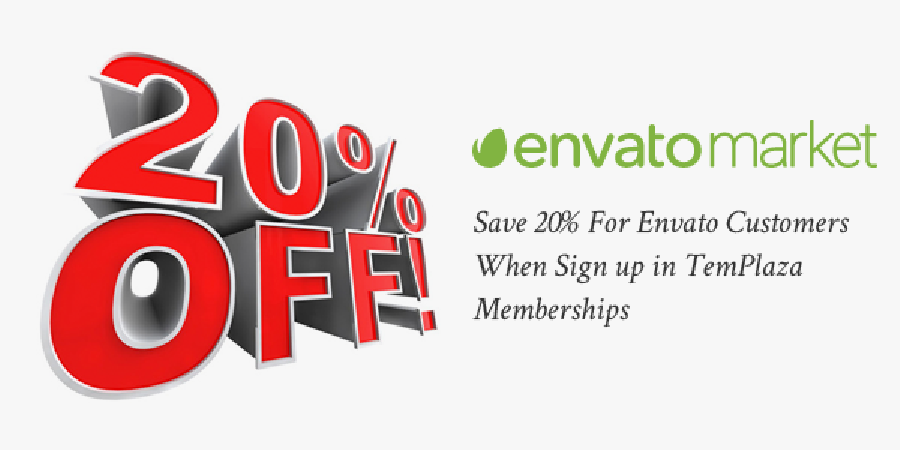 Save 20% For Envato Customers When Sign Up In TemPlaza Memberships
