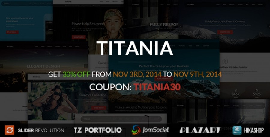 Special Discounting 30% For Titania Joomla Template