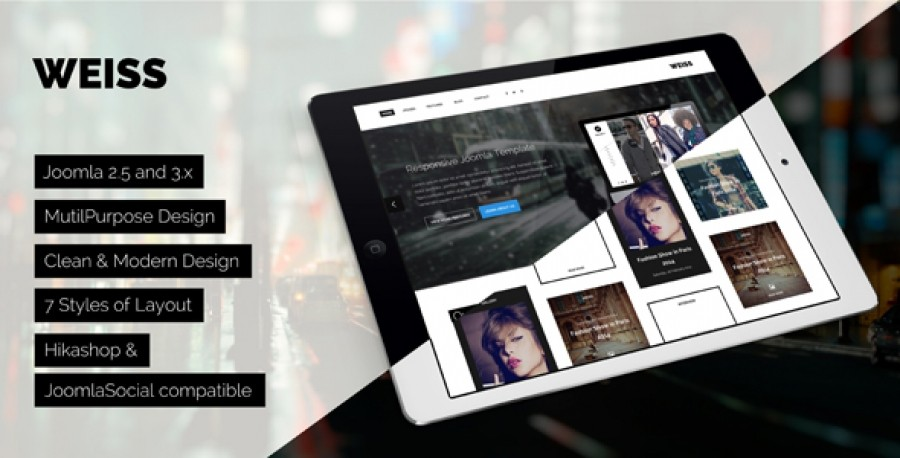 Weiss- Joomla Responsive Template in Preview