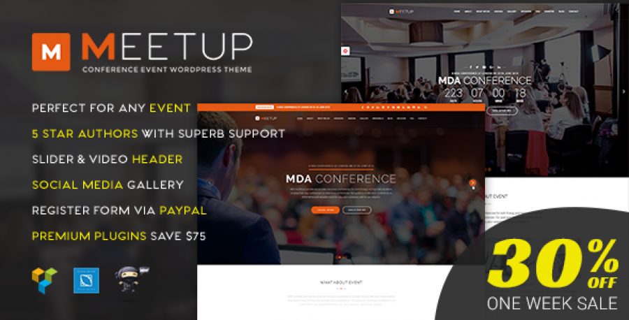 30% OFF for Meetup Conference Event WordPress Theme