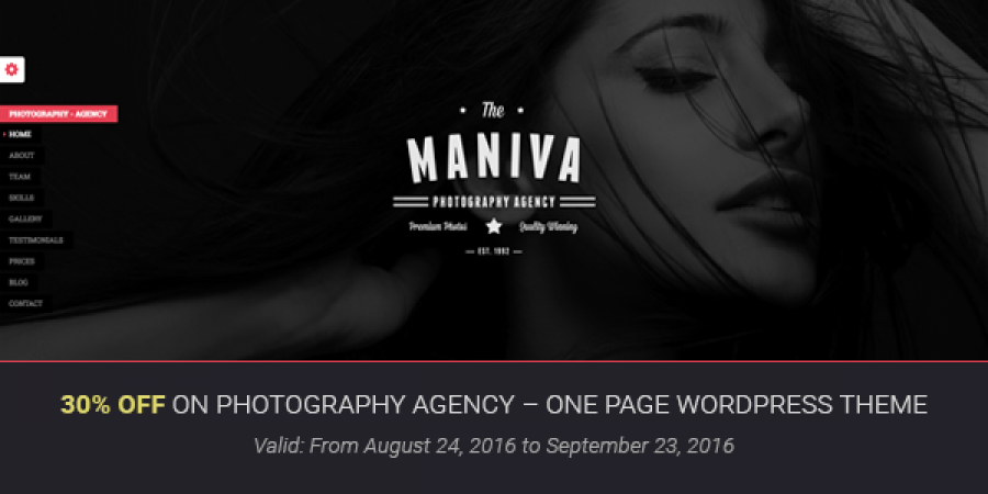 30% OFF on Photography Agency – One Page WordPress Theme