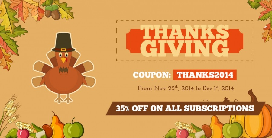 35% OFF Thanksgiving Day Sale For All Subscription Packages
