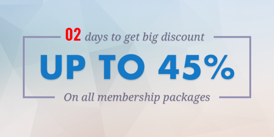 02 Days Left to Get BIG Discount  Up to 45% on ALL Packages