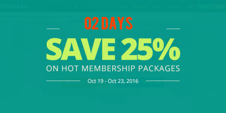 02 Days to Save 25% on HOT Membership Packages