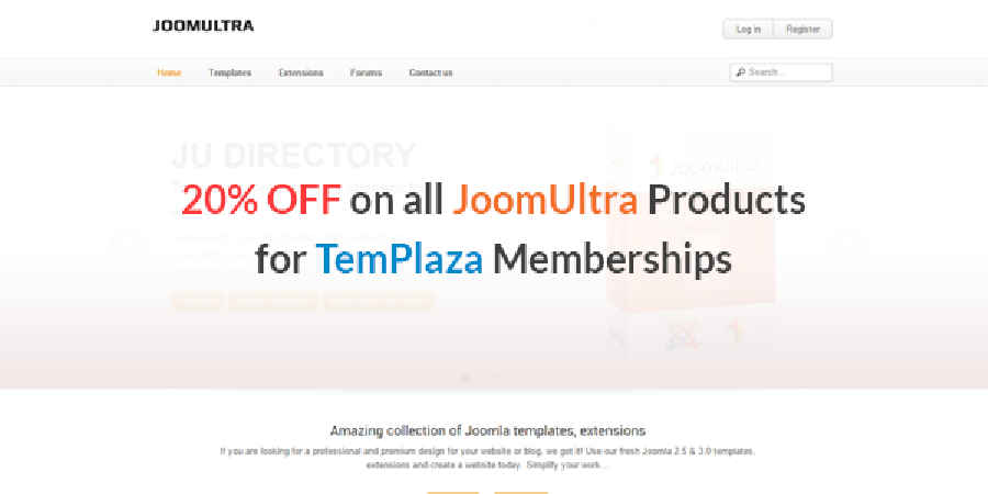 20% OFF on all JoomUltra Products for TemPlaza Memberships