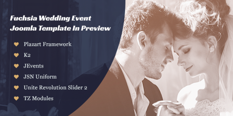 Fuchsia Wedding Event Joomla Template In Preview