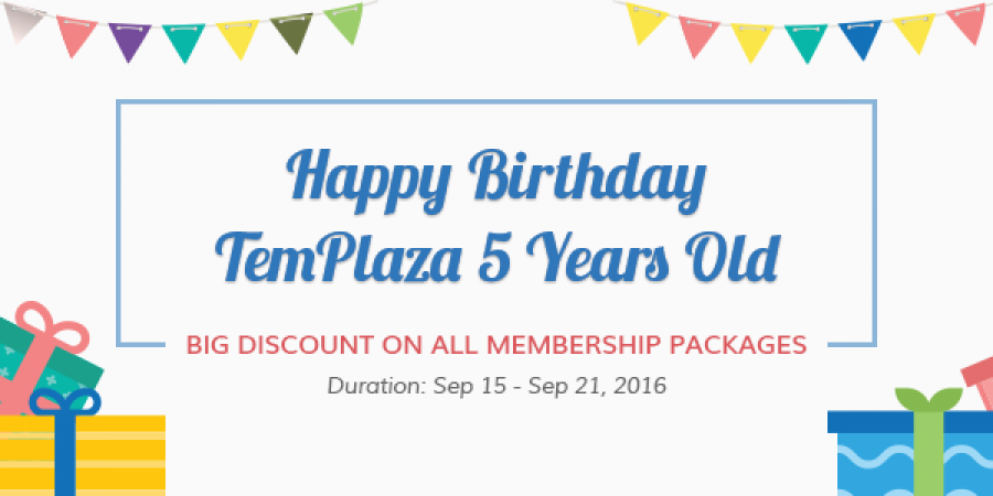 Happy 5th Birthday TemPlaza – BIG Discount on ALL Membership Packages