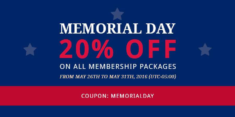 Memorial Day - 20% OFF on ALL Membership Packages