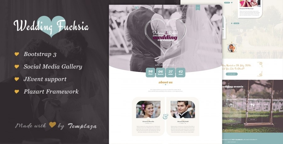 New Release: Wedding Fuchsia Joomla Template – Get 30% OFF Now