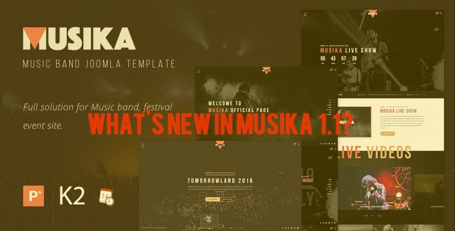 What's New in Musika Music Band Joomla Template version 1.1?