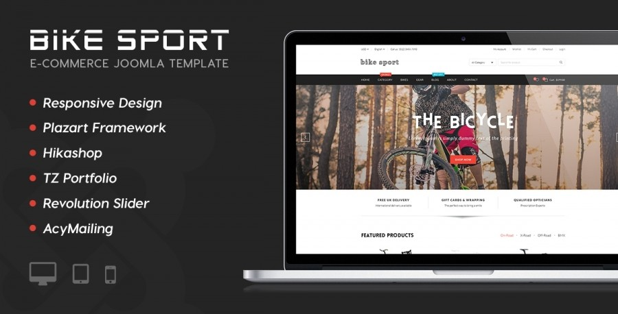 40% OFF on BIKE SPORT - a new Joomla Template designed by TEMPLAZA