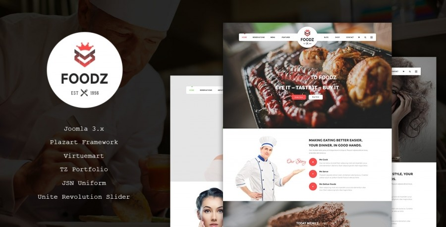 30% OFF on Foodz- A new Joomla Template for food/drinks, spa and salons