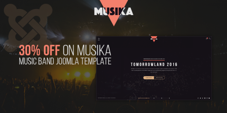 30% OFF on Musika – Music Band Joomla Template