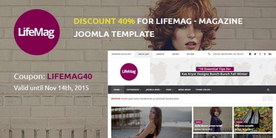 40% Discount On LifeMag - Magazine Joomla Template