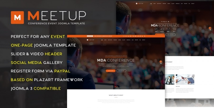 40% OFF on MeetUp – Conference Event Joomla Template: 3 Days Left