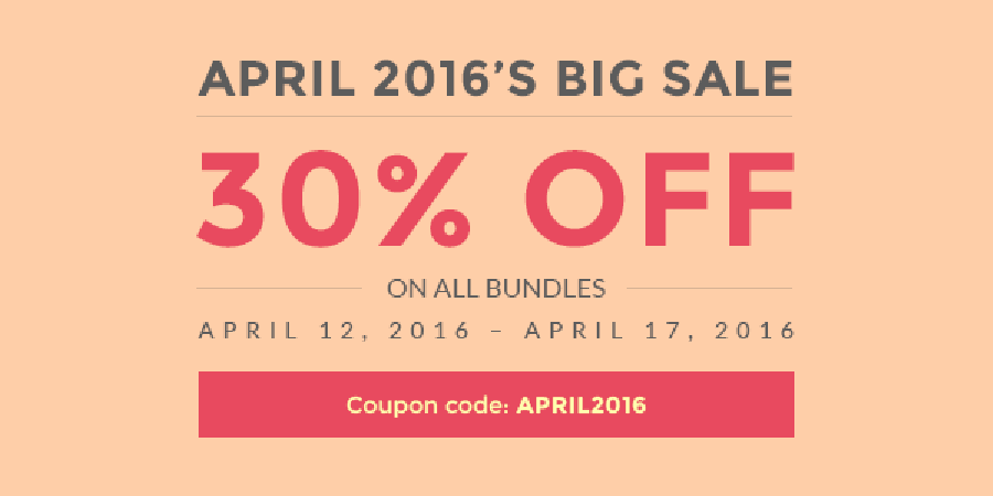 April 2016's Big sale: 30% Off on All Subscriptions
