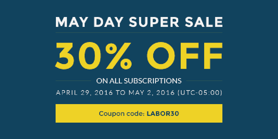 Special Sale: 30% OFF for May Day