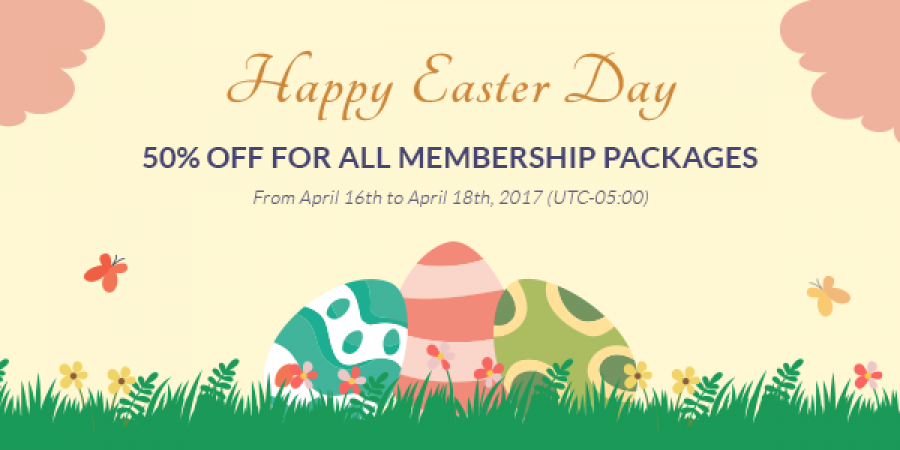 50% OFF for all Membership Packages on Easter Day