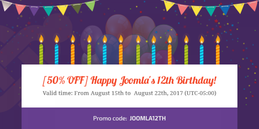 [50% OFF] Happy Joomla's 12th Birthday!