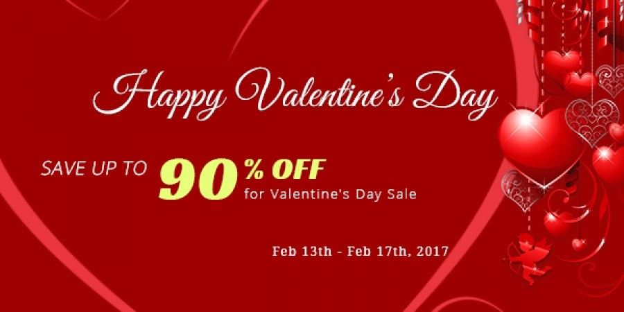 Save up to 90%  for Valentine's Day Sale