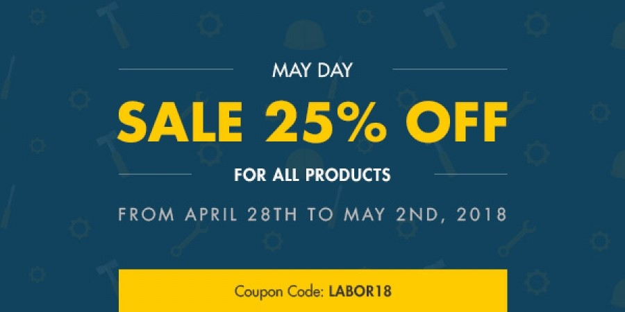 25% OFF for all products on Labor day 2018