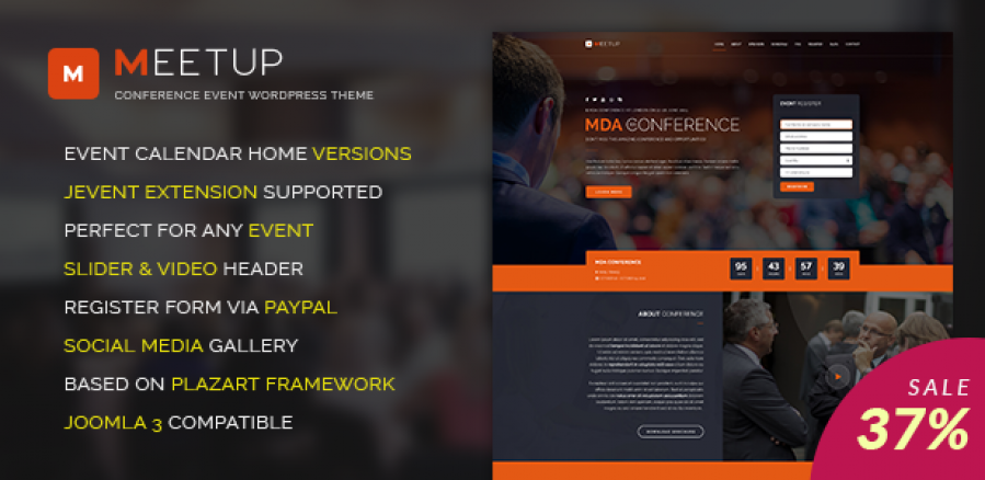 Big sale off 37% for Meet-up Conference Event Template